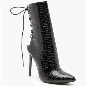 Patent Croc Effect Lace Up Back Sock Boots